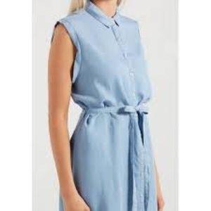 Cotton On - Chambray Sleeveless Shirt Dress - M